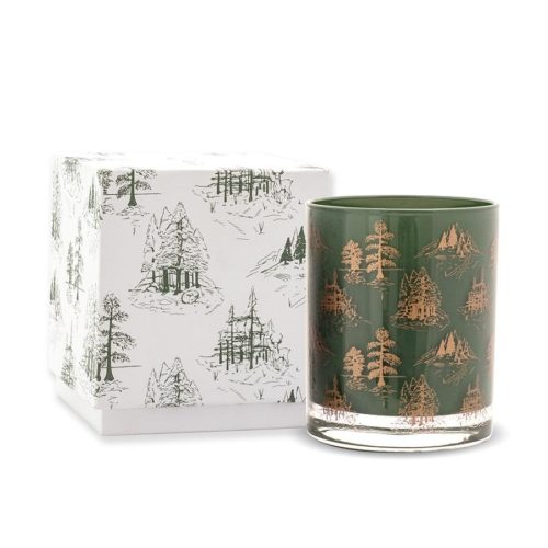 Green and Copper Foil Boxed Glass Candle - Cypress & Fir