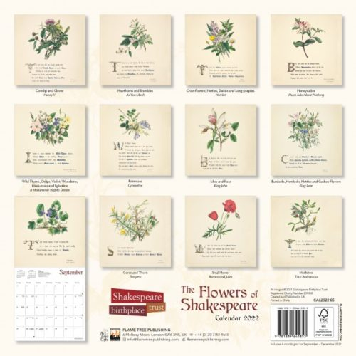 Flame Tree 2022 Large Wall Calendar - Shakespeare Birthplace Trust