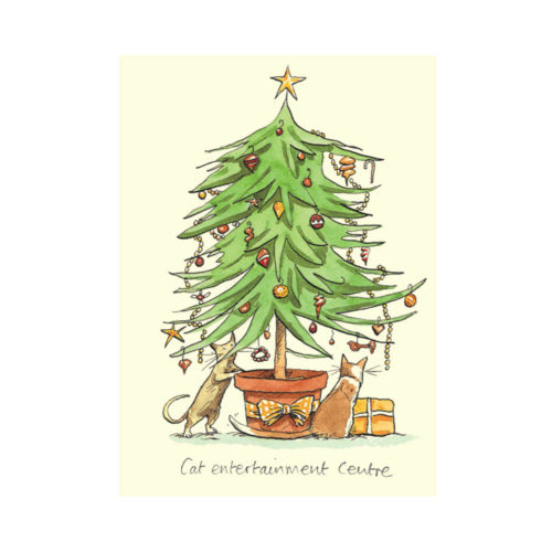 Two Bad Mice Christmas Card - Cat Entertainment Centre