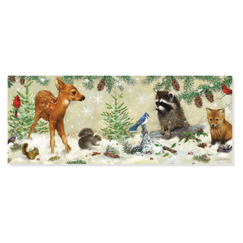 Peter Pauper Press Panoramic Boxed Christmas Cards - Winter Forest Friends